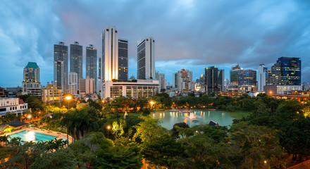 Bangkok Cityscape at twilight, Park in the City (Thailand)