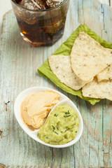 Home made nachos with guacamole