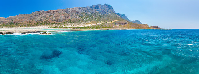 Panorama of Balos beach. View from Gramvousa Island