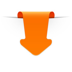 Orangener Sticker Pfeil mit Schatten und Textfreiraum
