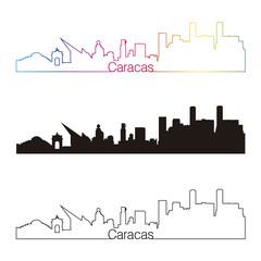 Caracas skyline linear style with rainbow
