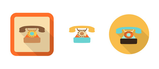 three retro phone icons in flat style