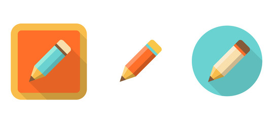 three retro pencil icons in flat style