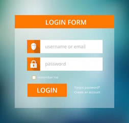 orange login form suitable for flat design, illustration