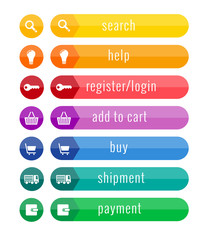 colorful buttons for eshop, suitable for flat design