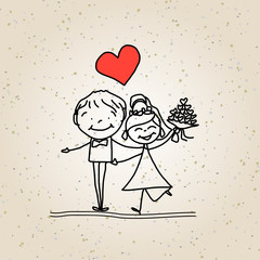 hand drawing cartoon happy wedding