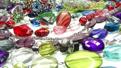 bright crystals beads and rings  fashion background