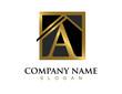 Gold letter A house logo