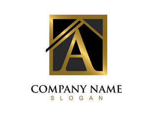 Gold letter A house logo
