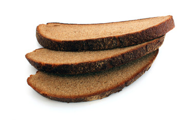 Three slices of rye bread