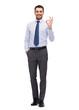 handsome businessman showing ok-sing