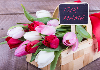 Korb mit Tulpen für Mama zum Muttertag