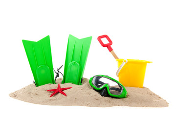 Beach with diving tools and toys