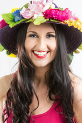 Happy woman  in colorful hat