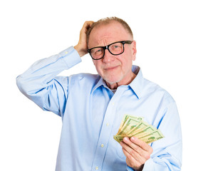 Portrait old man not sure of spending money on white background