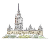 Moscow Stalin s building, Hotel Ukraine, Sketch collection poster