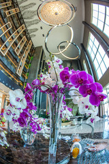 vaso di cristallo con orchidee lilla e bianche  recise