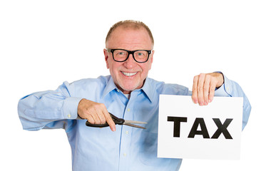 Senior elderly man cutting tax isolated on white background
