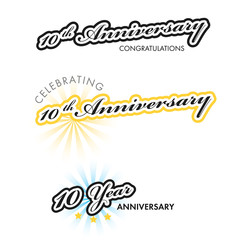 10th Anniversary sign collection, vector illustration