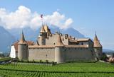 Famous castle Chateau d'Aigle in canton Vaud, Switzerland
