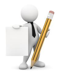 omino bianco con matita e foglio