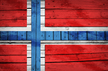 Norwegian flag painted on wooden boards