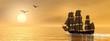 Leinwanddruck Bild - Old merchant ship - 3D render