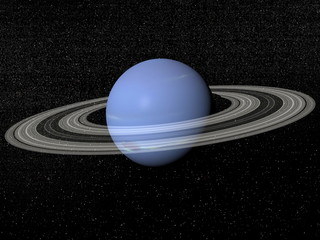 Neptune and rings - 3D render