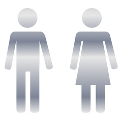 Silver male and female sign