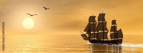 Leinwanddruck Bild Old merchant ship - 3D render