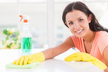 Cheerful housewife.