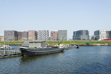 Boats on the canal in East of Amsterdam city center