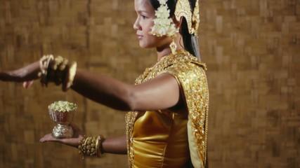 female dancer showing traditional cambodian dance, khmer art