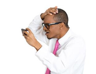 Shocked young man realizing he is balding, white background