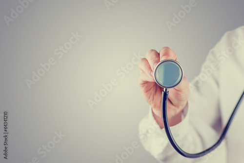 Retro image of a doctor with a stethoscope - 64341210