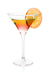 Cocktail tequila sunrise of white background