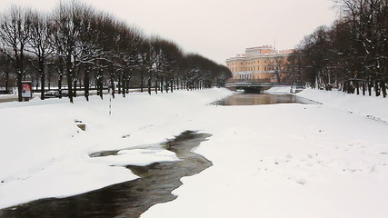Frozen Moyka River and Mikhailovsky Castle, St. Petersburg