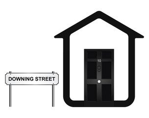 Monochrome concept of ten Downing Street