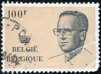 stamp printed in Belgium shows portrait King Baudouin