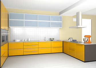 Modern kitchen interior with yellow color coordinate