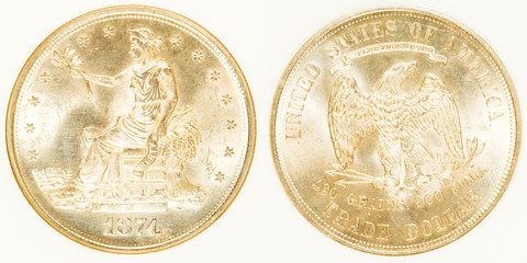 Front and Back Trade Dollar Silver