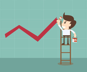 businessman painting growing graph