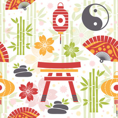 Oriental seamless pattern with asian symbols