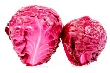 Red cabbages in isolated on white background