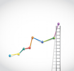 business graph and ladder illustration design