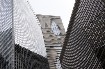 Modern Office Buildings. Bottom Up View. Chicago