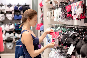 woman buying a bra and  panties