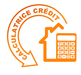 calculatrice crédit immobilier sur symbole orange