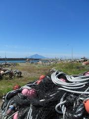 利尻山と漁港風景