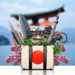 Japan, japan landmarks, travel and retro suitcase